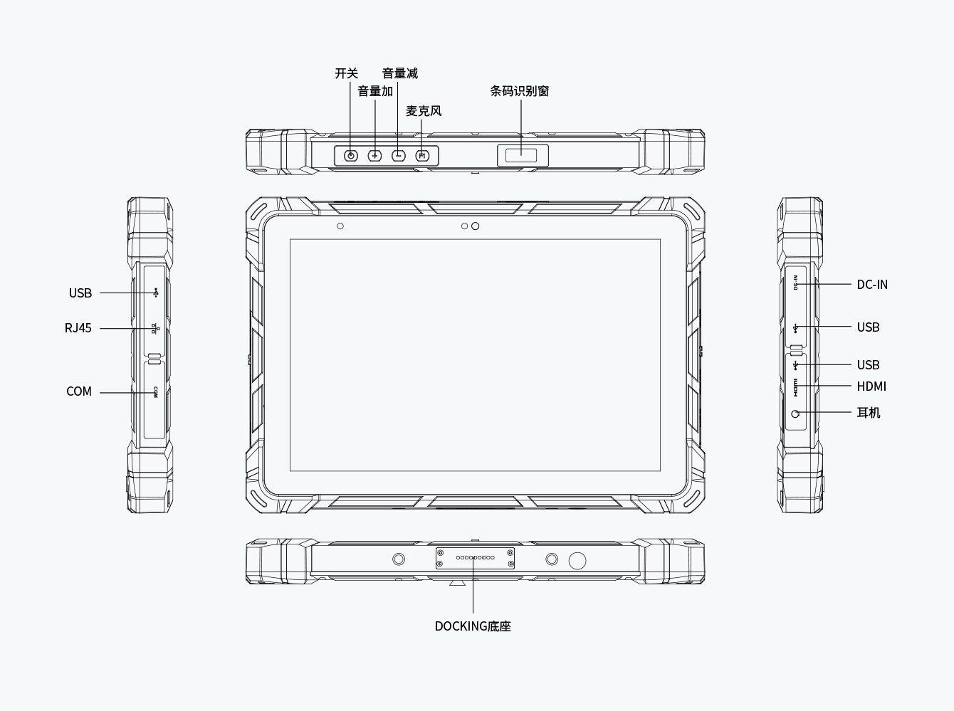 F7 10.1'' 加固三防平板电脑接口图